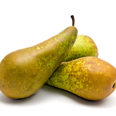 Small group of pears (Conference) on white
